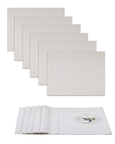 Cotton Handgefertigtes Designer Tischset aus Spitze, gesäumt, 35 x 48 cm und 1 Tischläufer in Weiß - Premium Leinenoptik ()