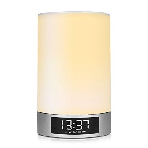 kwmobile Bluetooth Lautsprecher / Nachttischlampe mit LED Licht (dimmbar, mehrere Farben) / Wecker-, Freisprech- und Musik-Funktion / kabellos / in silber