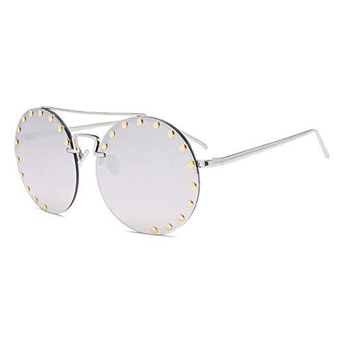 YLNJYJ Runde Niet-Art- Und Weisesonnenbrille Für Retro Männer Der Frauen Markendesigner-Oberseiten-Sonnenbrille Für Männliches Steigungsobjektiv Rotes Grünes Randloses
