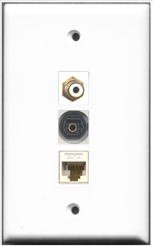 RiteAV-1Port RCA und 1Port Toslink und 1Port Cat6Ethernet White Wall Plate Rca Modular Wall Outlet