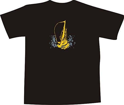 T-Shirt E481 Schönes T-Shirt mit farbigem Brustaufdruck - Logo / Grafik - abstraktes Design - Segelboot im Sturm Weiß