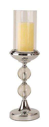 Lifestyle & More Modernes Windlicht Kerzenständer aus Metall und Glas in Silber Höhe 46 cm Durchmesser 13 cm