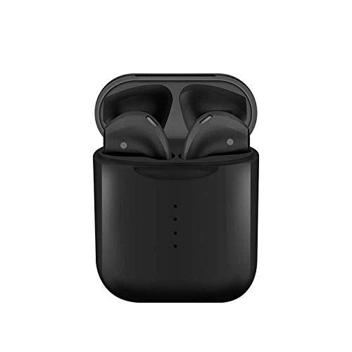 Color Doble Oreja Deporte Bluetooth Auricular Bluetooth 5.0 Ventana Táctil Inalámbrica con Compartimiento De Carga para Bluetooth Negro