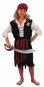 Fyasa 701181-t01pirata disfraz de niña, color negro/blanco, tamaño mediano