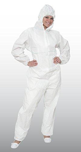 50 Stück Chemikalienschutzoveralls - weiß - Größe XL - KAT. III - Kapuze - SMS - KAT. III - Typ 5 + 6 - EN ISO 13688   EN ISO 13982-1   EN 13034 (Schutzoverall - Einwegoverall - Maleranzug) - Kapuzen-typ