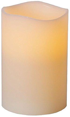 Star––, candela led, con vera cera, fiamma tremolante e timer, a batteria, 15x 10cm, luce calda bianca 068–65