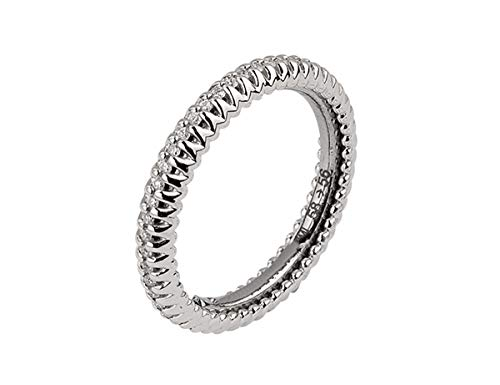 Anello fedina a giro in oro bianco 18 k e diamanti 0,30 ct