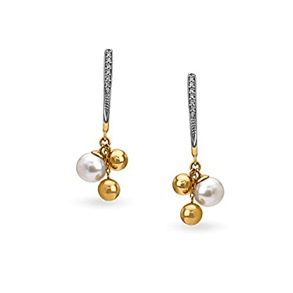 Mia by Tanishq 14KT Yellow Gold, Diamond and PearlDrop Earrings for Women