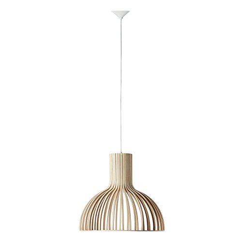 Sulion Savoy Lámpara de Techo Colgante en Bambú, E27, 60 watts, Blanco, 46 x 51 x 160 cm