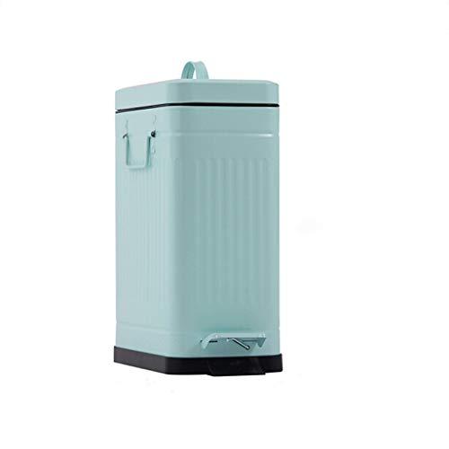 Schritte mit Deckel Griff Mülleimer Haushalt 10 Liter Langsam Stummschalten Große Kapazität Küche Rechteckiger Abfall Barrel Mint Green (Schritt Mülleimer Küche Groß)