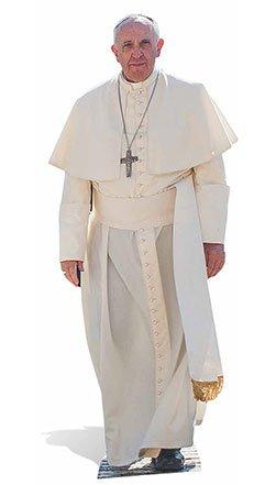 große Kartonausschnitt von Papst Franziskus, mehrfarbig (Papst Hats)
