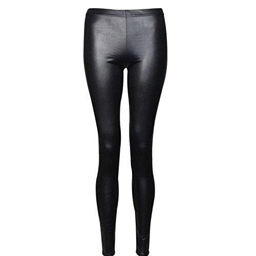 Islander Fashions Damen Plain Stretchy Leggings Damen Voller L�nge Printed Skinny Legging Hosen Schwarz Wet Look X Gro�e EU 44-46