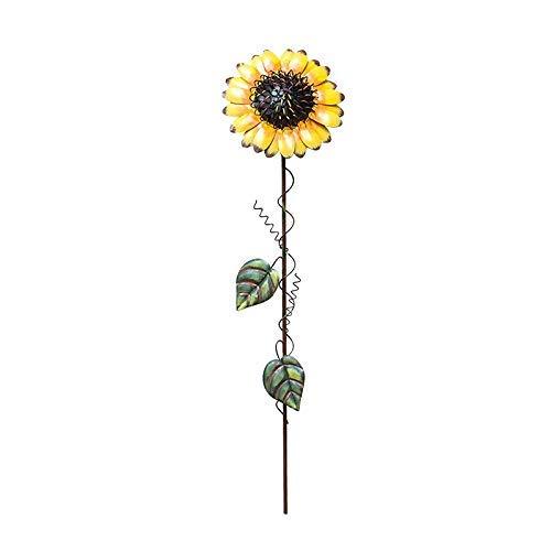 H Regenbogen-akzenten (Regenbogen-Handcrafts Vintage Metall-Sonnenblumen-Gartenstecker Metall Garten Hof Rasen Terrasse Dekoration Sonnenblume Outdoor Dekoration 53,3 cm H)
