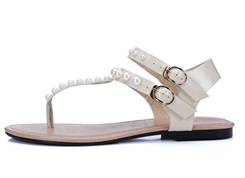 WZG Le nouveau diamant perle plat avec des sandales plates tong sandales chaussures en cuir apricot