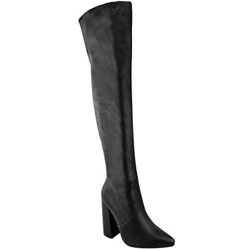 Damen hoch Schenkelhoch Stretch Lycra Stiefel Overknee Promi High Heels Größe - Schwarz Kunstleder/Spitz Zulaufend, 38 - Stretch Lycra Overknee
