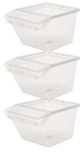 Kreher 3 x Aufbewahrungsbox, Sortierbox aus Kunststoff in Transparent. Mit ca. 44 Liter Volumen pro Box. Stapelbar. Maße BxTxH in cm ca.: 39,4 x 59,7 x 31,2 cm