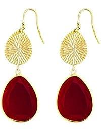 Córdoba Jewels | Pendientes en plata de Ley 925 bañada en oro. Diseño Oval Martelé Rubí