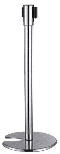 95cm Absperrpfosten aus Edelstahl mit Zugmechanik Farbe (Gurtband): Schwarz