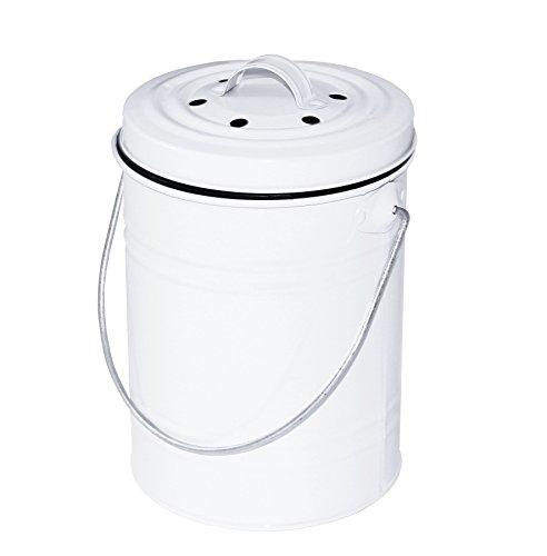 *5L Komposteimer Küchen Kompostbehälter Bio Mülleimer weiß mit Inneneimer Aktivkohlefilter Spülmaschinen geeignet*