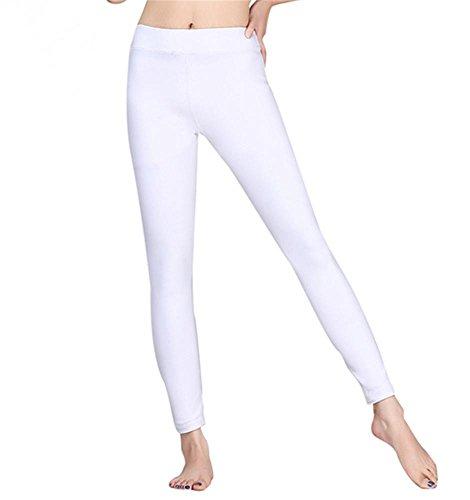 Femme pantalons confortables de yoga maigre gal / danse pantalon de formation White