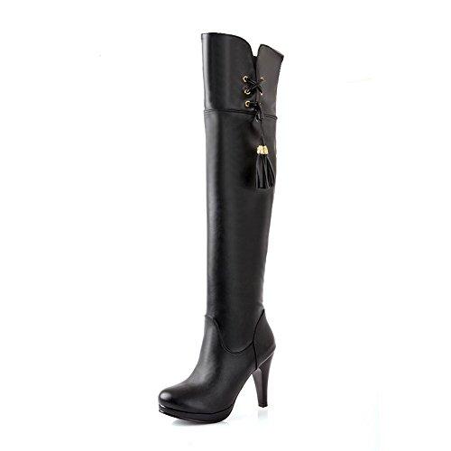 AllhqFashion Damen Hoher Absatz Blend-Materialien Rund Zehe Hoch-Spitze Stiefel Schwarz-Fransig
