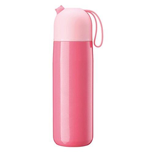 WeiLuShop Tasse portative de tasse d'étudiant d'acier inoxydable d'isolation de grande capacité 14 onces (Color : Pink)