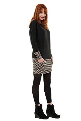cooles Pullover Kleid mit Taschen von 3Elfen - hergestellt in Berlin braun retro Dessin