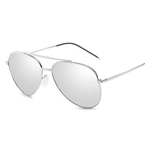 Big Metal Round Frame Pilot Rahmentyp Übergröße Fashion Classic Frog Mirror UV400 Objektiv Unisex polarisierte Sonnenbrille Sonnenbrillen und flacher Spiegel ( Color : Silber , Size : Kostenlos )
