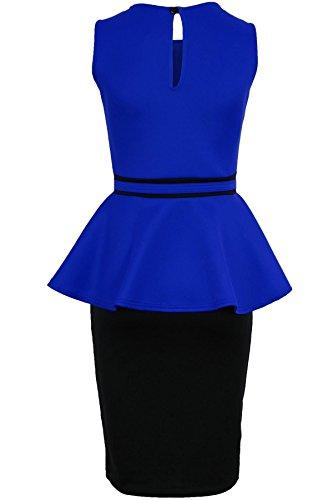 SAPHIR BOUTIQUE Damen Strass Halskette Ärmellos Enganliegend Schößchen Party Abend Kontrast Kleid Blau
