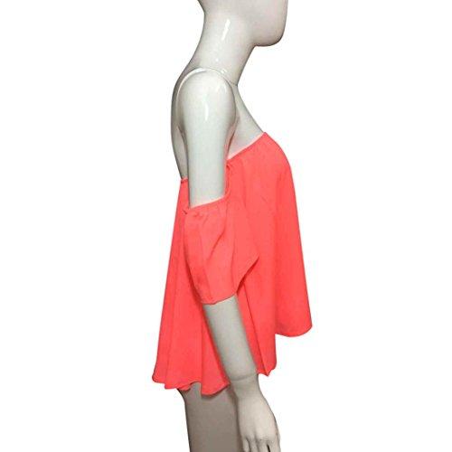 Bekleidung Longra Damenmode Off Shoulder Sommer Tops solide Bluse Kurzarm T-Shirt Watermelon