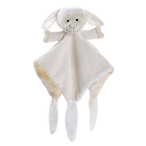 HKFV Kuscheln Sie Baby-Tröster-Decke Baby Teddy Bear Puppet Spielzeug Geschenk Kuscheltuch Schnuffeltücher und Trösterchen Schnuffeltücher Trösterchen Bär Hase Decke 30 x 30 cm (Weiß)