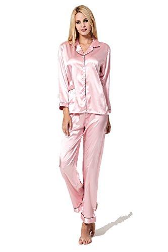 Sankill Damen Seide Pyjama Set Schlafanzug Sleepwear Loungewear mit Geschenk Schlafmaske (Seide Schlafanzug)