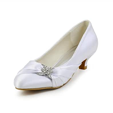 Jia Jia Bridal 0112A Satin Low Heel Closed toe Prom Party Dance Wedding shoes Wommen Pumps White, 2.5 UK/ EU 35