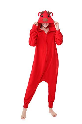 Erwachsene Unisex Einhorn Tiger Lion Fox Onesie Tier Schlafanzug Cosplay Pyjamas Halloween Karneval Kostüm Loungewear (Christmas Deer Red, XL passt Höhe 174-183cm) (Red Fox Halloween-kostüm)