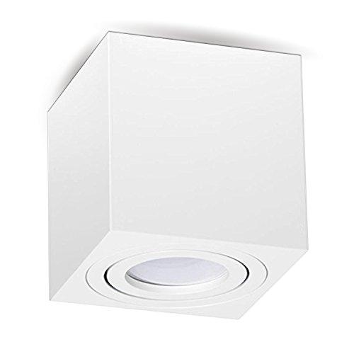 MILANO GU10 230V LED Halogen [quadratisch, weiss, schwenkbar] Aufbauleuchte Deckenlampe Würfelleuchte Aluminium...