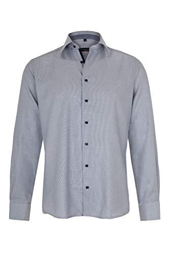 eterna Langarm Hemd MODERN FIT Twill strukturiert, W38 Langarm, Blau/Weiss - Strukturierte Langarm-polo-shirt