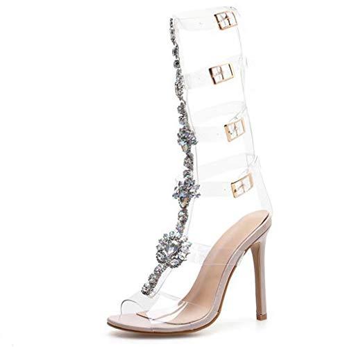 Damenmode Strass BottieTransparent High Heel Peep Toe Studs Stiletto Sandalen Mit Absatz Absatzschuhe Kleid Schuhe,Transparent -42 -