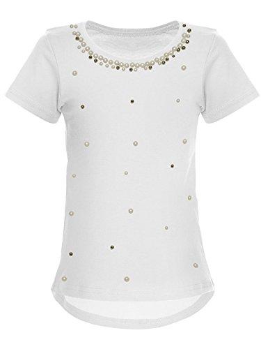 Mädchen Blusen Shirt Kunst-Perlen Kurz-Arm 22588 Weiß, Herstellergröße:104 - Perlen Kurz