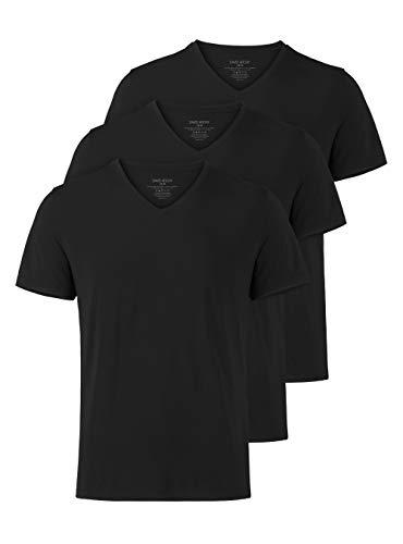 David Archy Herren Business Unterhemden Kurzarm Shirts mit V-Ausschnitt Micro Modal Super Weich, 3er Pack (L, V-Ausschnitt: Schwarz) (T-shirt Tag Jersey Fine)