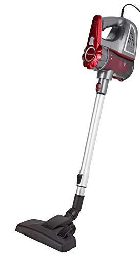 Bestron Aspirateur à main sans sac avec tube télescopique, Rayon d'action : 6,5 m, Capacité : 0,6 L, 600 W, Rouge/Gris