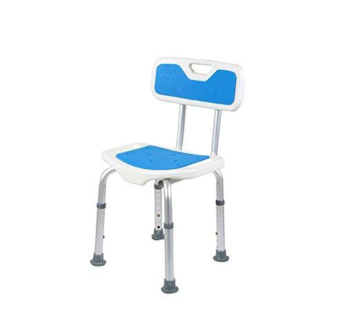Chaise de bain, alliage d'aluminium avec dossier Prendre une chaise de bain Salle de bains douche Personnes âgées Femmes enceintes Bidet Fournitures d'allaitement anti-dérapant Bleu blanc Couleur