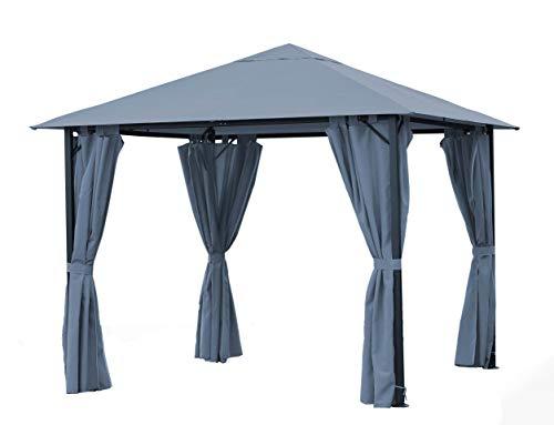 Quick-Star Metall Garten Pavillon Nizza 3x3m Antik Partyzelt Grau mit 4 Seitenteilen