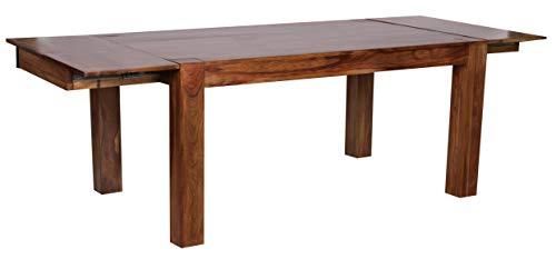 FineBuy Esstisch Massivholz Sheesham 160 - 240 cm ausziehbar Esszimmer-Tisch Design Küchentisch Landhaus-Stil Holztisch dunkel-braun Natur-Produkt Ausziehtisch XXL Massivholzmöbel Echtholz unbehandelt