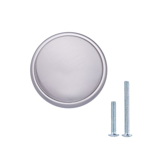 AmazonBasics - Schubladenknopf, Möbelgriff, modern, mit großer runder Platte oben, Durchmesser: 3,85 cm, Satinierter Nickel, 10er-Pack