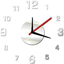 Gosear Reloj Montado Adhesivo Papel de Pared Estilo Simple Bricolaje Espejo 3D de Superficie para Decoración Hogar Oficina,Plata
