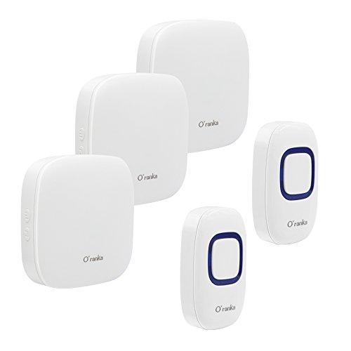 Kabellose Türklingel, Oranka Kabellose Türklingel 2 Push Button 3 Wandsteckdosen mit LED-Anzeige IP55 Wasserdicht, 1000ft Reichweite mit 52 Melodien Chimes (Weiß)
