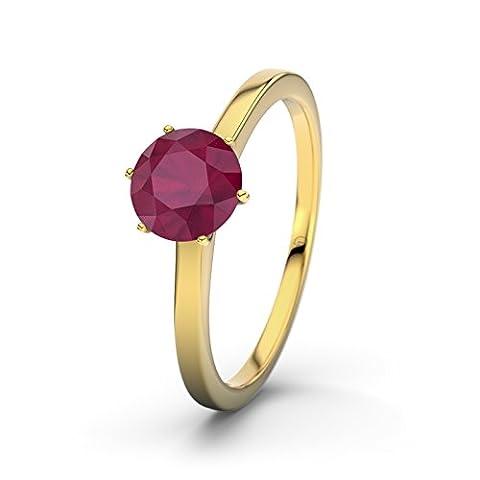 21DIAMONDS Hawaiian Ruby Brilliant Cut Women's Ring 14Carat (585) Yellow Gold Engagement Ring Gold mit Rubin