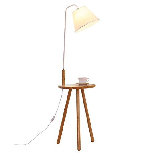 Home mall- Holz Stehlampe | Moderne minimalistische Stehleuchte mit kleinem Tisch | für Wohnzimmer Schlafzimmer Arbeitszimmer 40X140cm (Farbe : White pole)