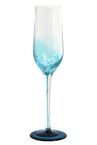 Novastyl 8012965.0 Flute à Champagne Verre Oxygène Bleu 14,6 x 7,4 x 25,2 cm 18 cl Lot de 2