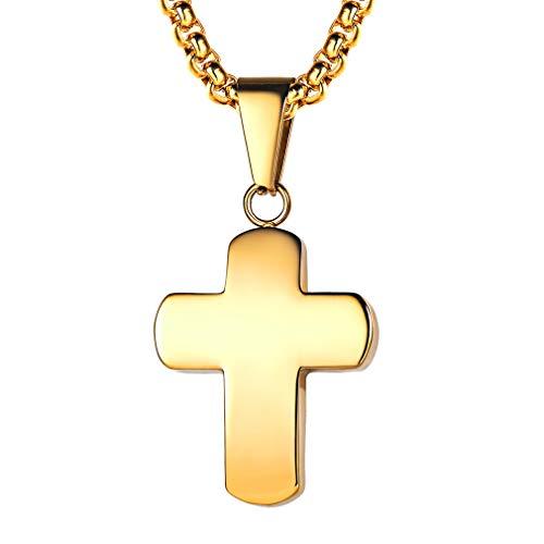 FaithHeart Damen Halskette mit Jesus Kreuz Anhänger der Rosenkranz Schmuck Religiöse Amulett Kette Gold Gelb 18K Taufe